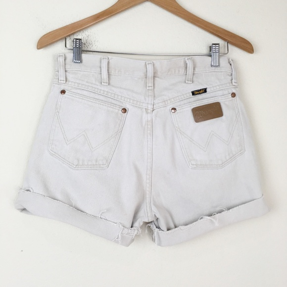 Wrangler Pants - WRANGLER Beige Denim Cutoff Shorts High Waist Boho